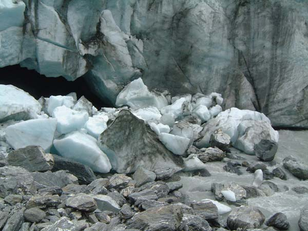 Chunks newly fallen from head of Glacier