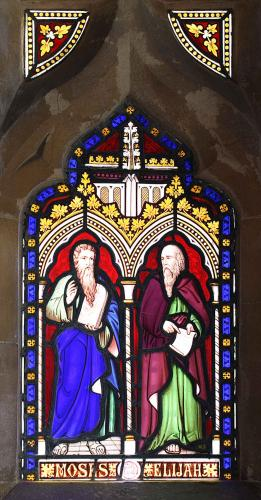 St. John's Church: Stained glass panel located in the porch of St. John's Church, Old Sodbury.