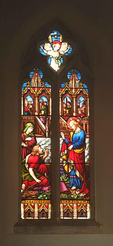 St. Mary Magdalene Church: Stained glass panel located in St. Mary Magdalene Church, Tomarton.  I had to photograph this from outside the church through a plain window, hence the lower image quality of this picture.