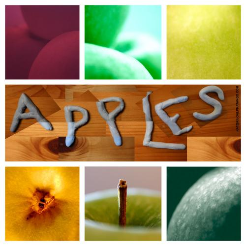 Apple Sampler: A sampler image of apples. Clockwise from top left: infrared, green filter, shot of the skin, duotone, shot of the stalk, yellow torchlight.