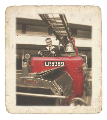 Edward and Jez: Edd on the Motor Club's Fire Engine Jez.