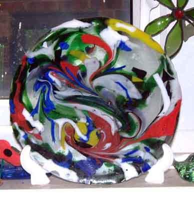 Swirly Spectrum Glass Plaque