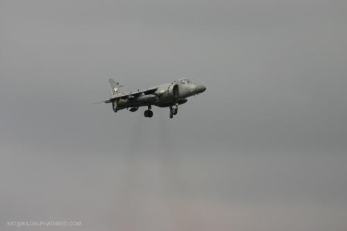 Hovering Harrier: Royal Navy Harrier hovering over Filton Airfield