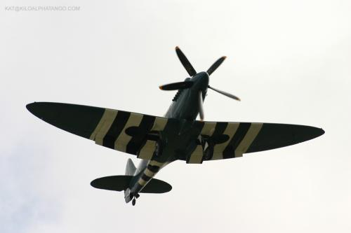 Coming in to Land: A Spitfire coming in to land at Filton Airfield