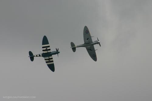 Follow my Leader: A pair of Spitfires playing chase.